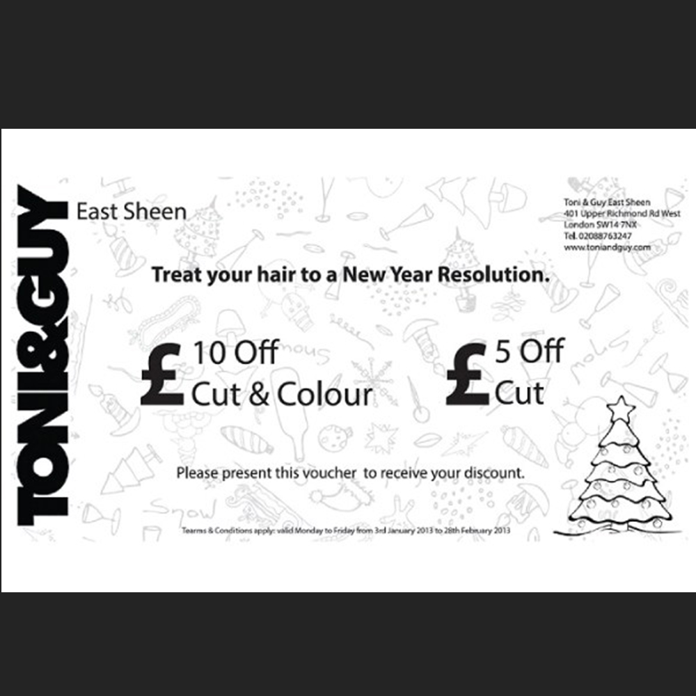 discount voucher design Toni and Guy