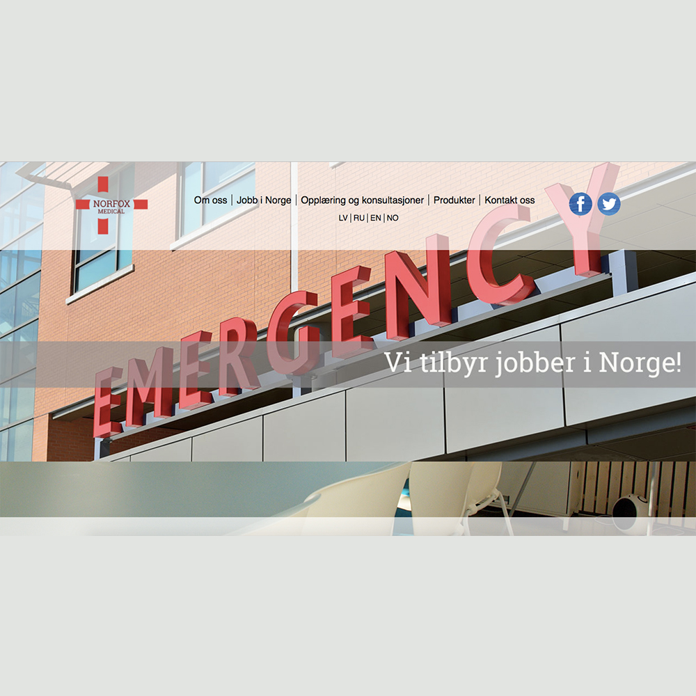 Norfox medical design av webside og utvikling