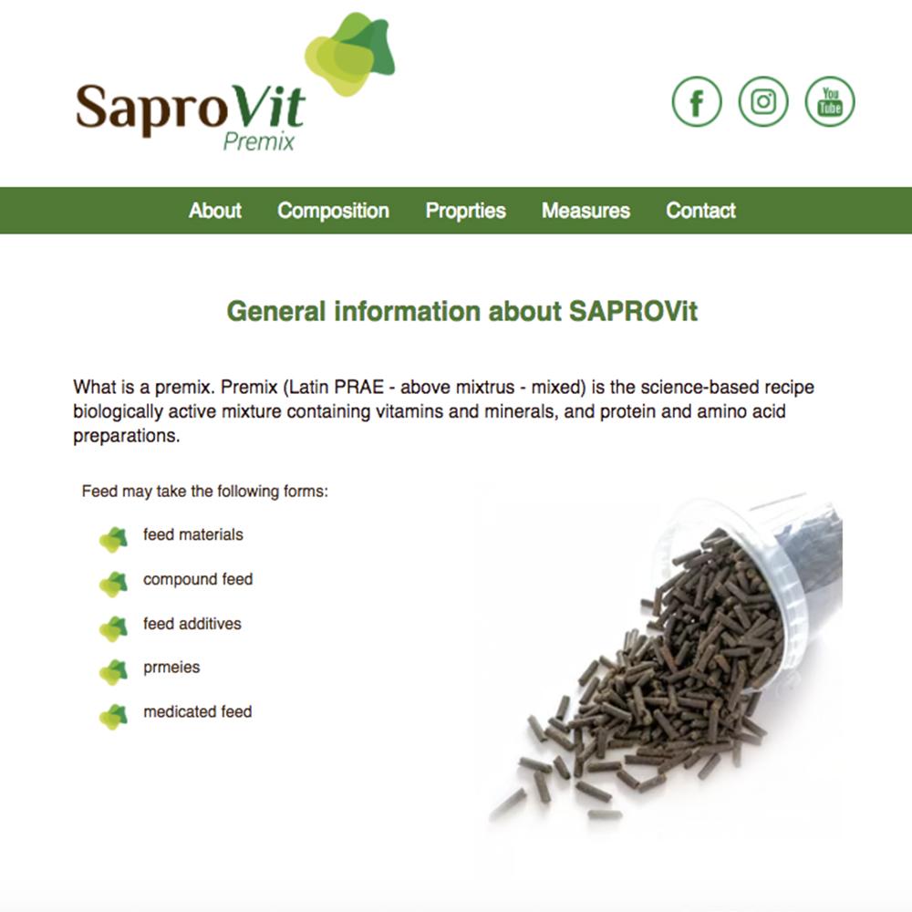 Saprovit.eu дизайн и разработка web сайта