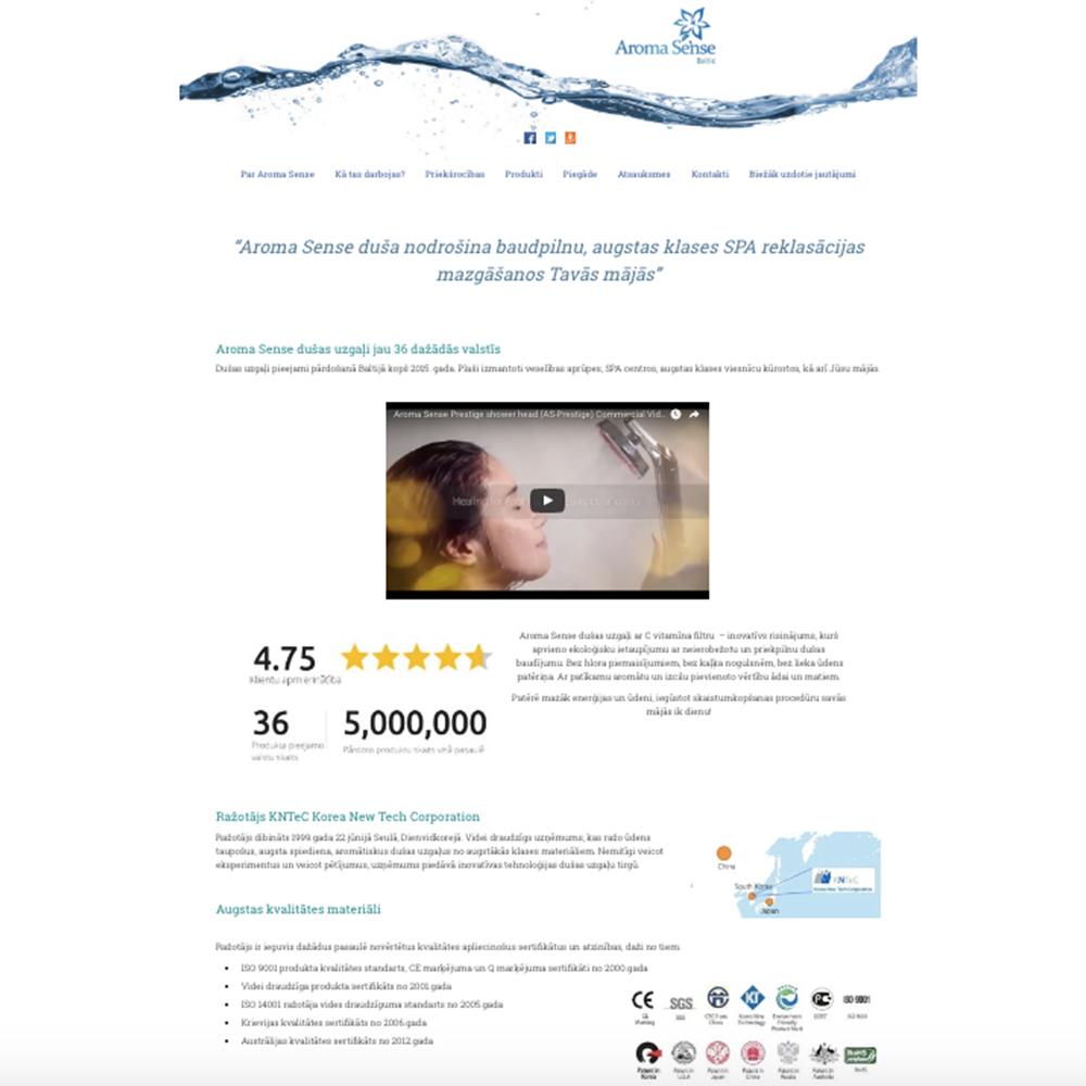 Aroma Sense mājas lapas dizains un izstrāde