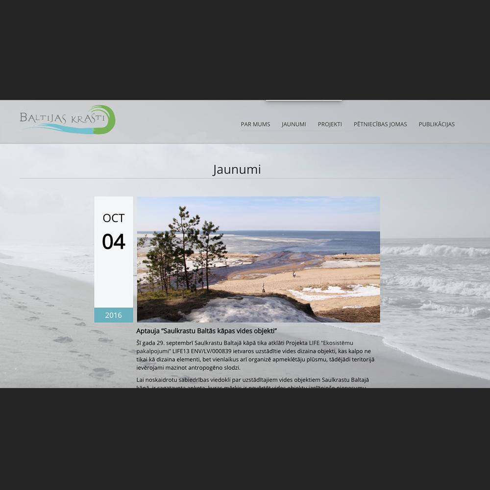 Baltijas krasti mājas lapas dizains un izstrāde