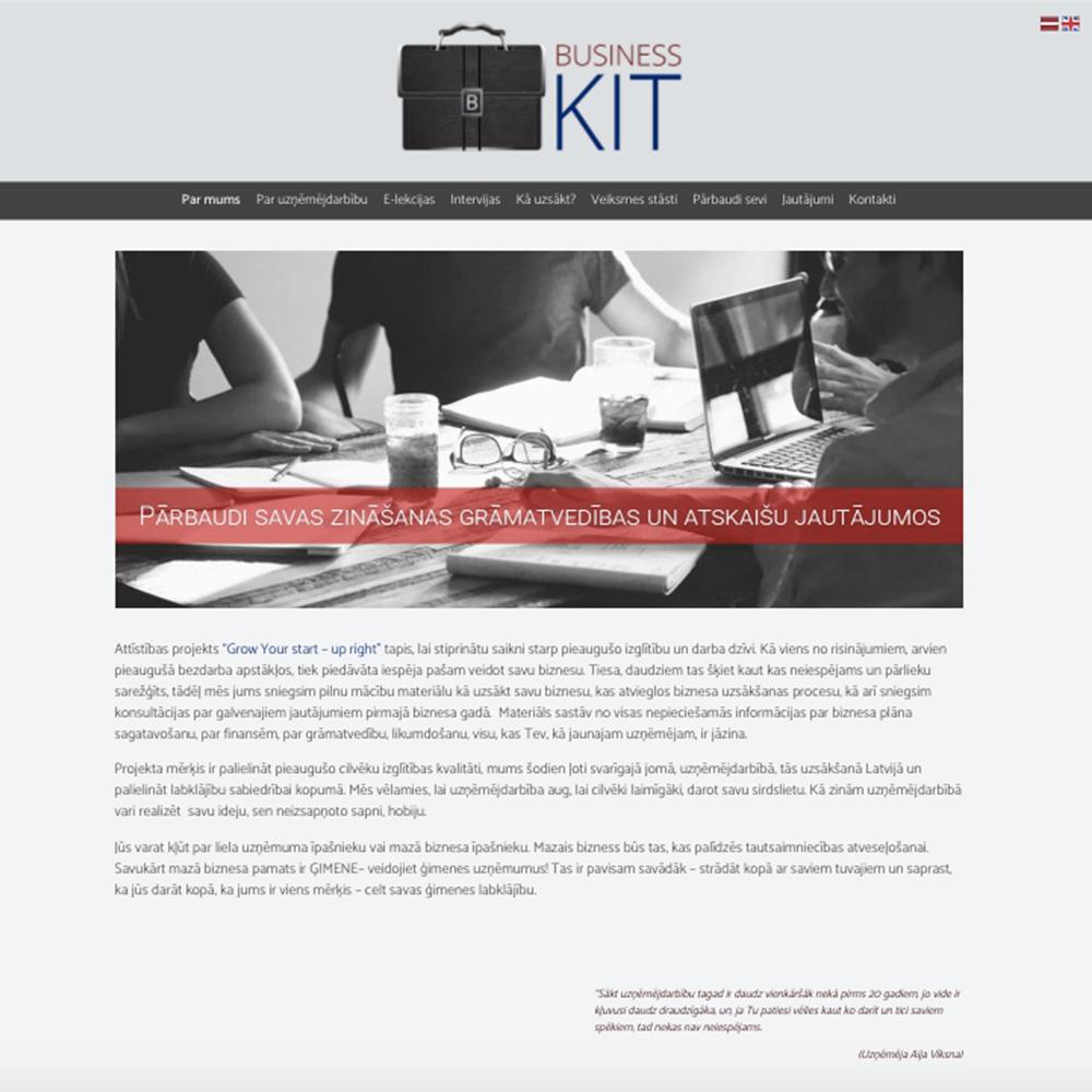 Business kit mājas lapas dizains un izstrāde