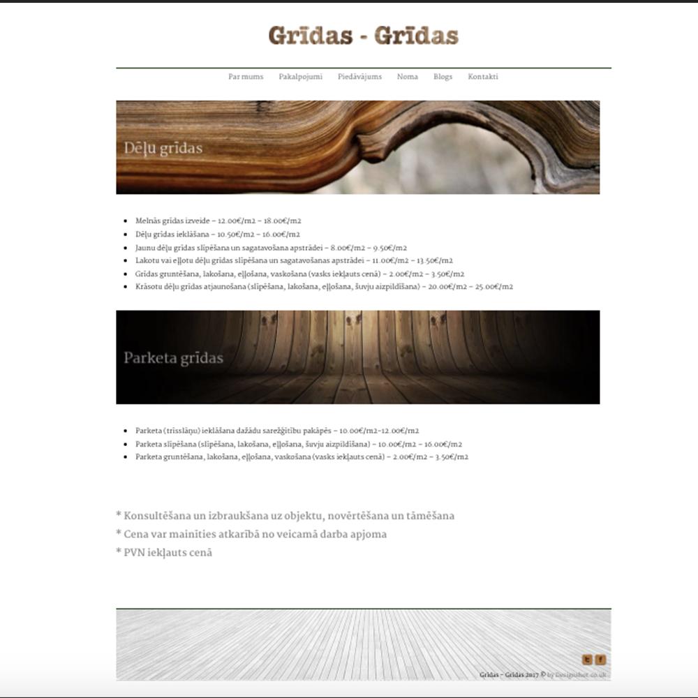 Grīdas grīdas mājas lapas dizains un izstrāde