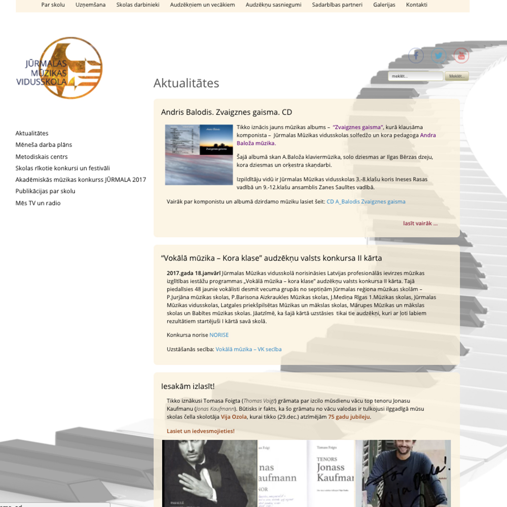 Jūrmalas mūzikas vidusskola - mājas lapas dizains un izstrāde