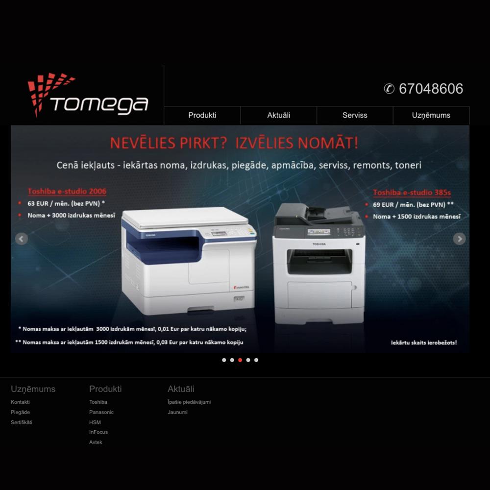 Tomega mājas lapas dizains un izstrāde